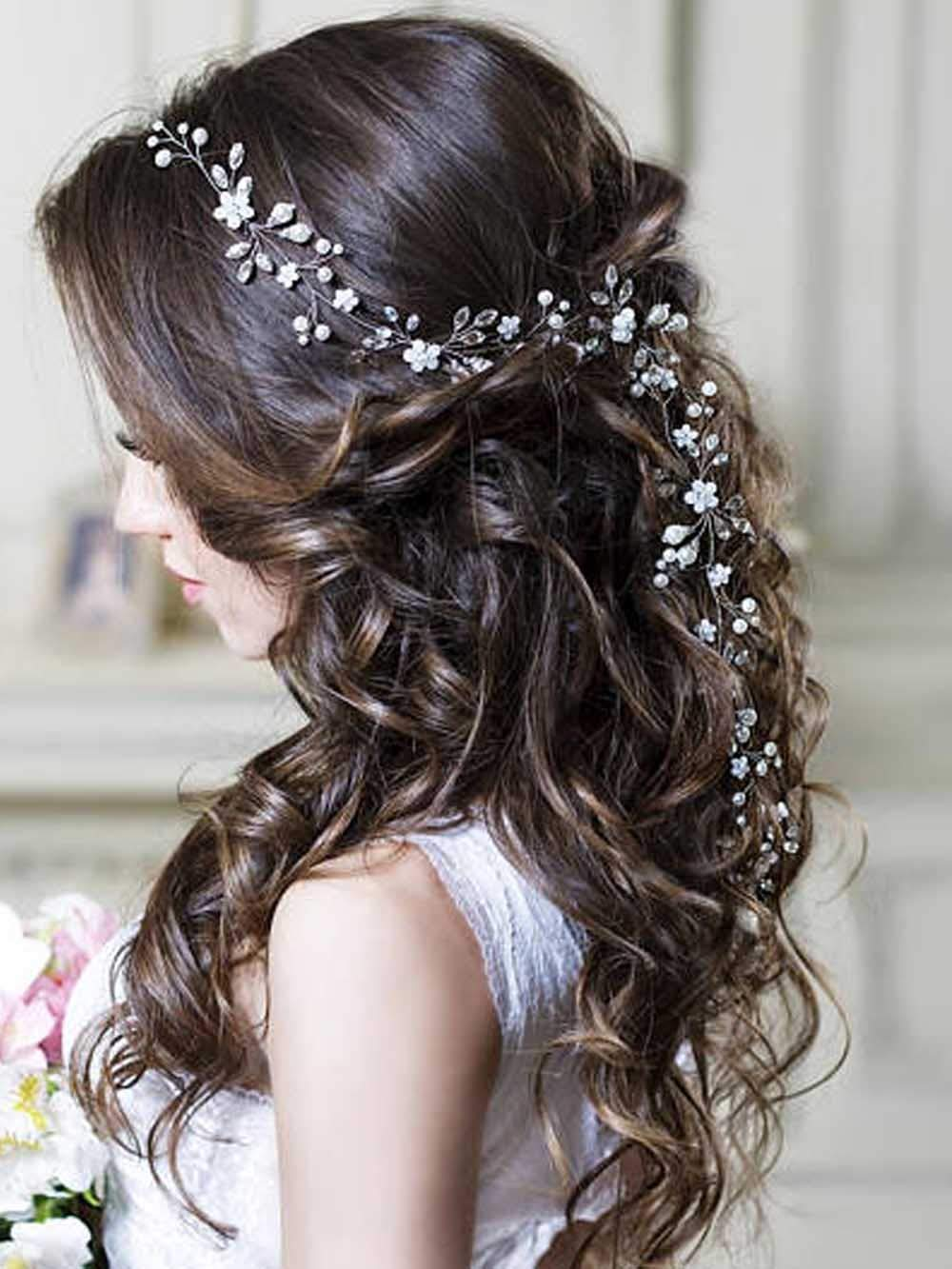 Unicra Silver Wedding Pearl Flower Hair Vine Wedding Bridal Headpiece Accessories for Brides and Bridesmaids 23.6 Inches