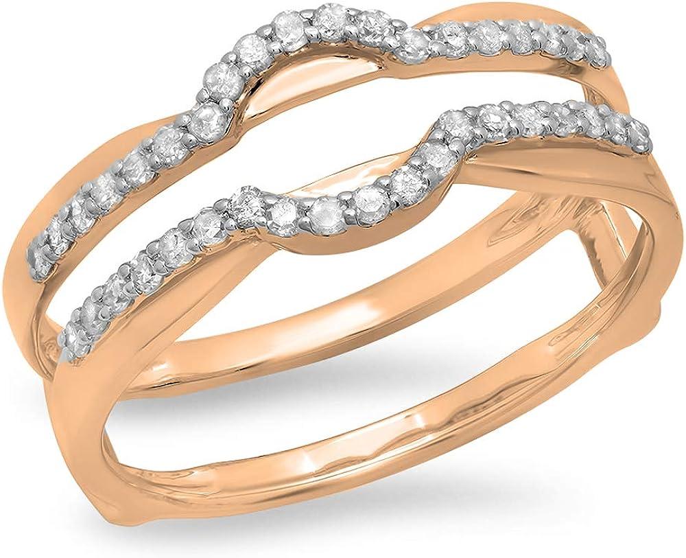 Dazzlingrock Collection 0.28 Carat (ctw) Round Diamond Ladies Anniversary Wedding Band Enhancer Double Ring 1/4 CT, 14K Gold