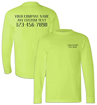 Amazon Com Bayside Men S Usa Made Long Sleeve Safety T Shirt With
