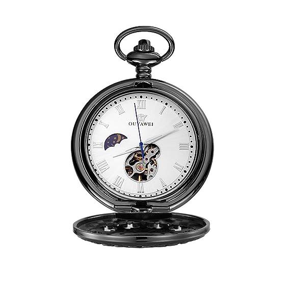 Ouyawei antiguo reloj de bolsillo de moda anodizado negro Hollow Out Case Función de fase de la luna mecánico reloj de bolsillo: Amazon.es: Relojes