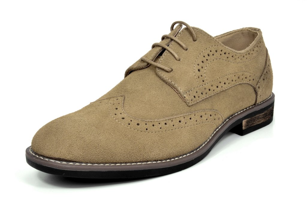 Bruno Marc Men's URBAN-03 Sand Suede Leather Lace up Oxfords Shoes - 10.5 M US by BRUNO MARC NEW YORK
