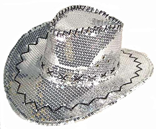 [Sparkling Silver Sequins Men or Womens Western Style Cowboy / Cowgirl Hat] (Company Costumes Western)