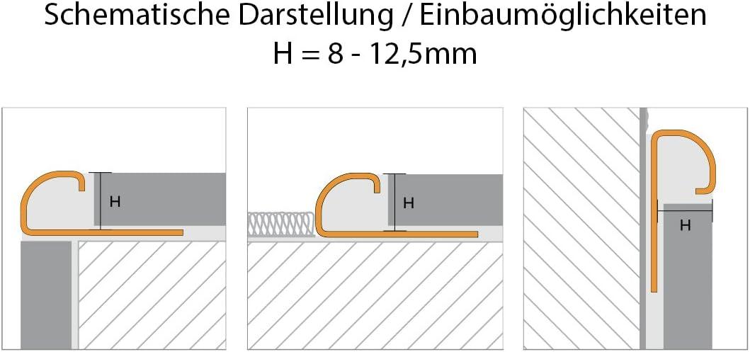 Fliesenprofil Edelstahl L/änge 2,50 m 11 mm H/öhe 1 St/ück Fliesenschiene V2A Rundkantenprofil gl/änzend