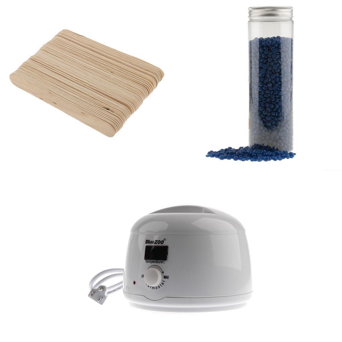 Homyl Electric Hot Wax Warmer Heater Wxing Pot Machine + 400g/Bottle Depilatory Wax Beans + 50 x Wooden Stick
