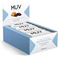 Muv Food For Action - Barras de proteína bajas en azúcar con chocolate y caramelo, 12 unidades de 30 g