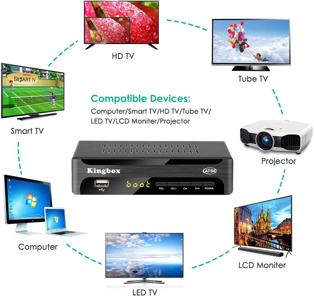 Kingbox Caja convertidora Digital para TV analógica, sintonizador ATSC 1080P con grabación de programas de TV, reproducción Multimedia USB y función de sintonizador de TV (2019 versión): Amazon.es: Electrónica