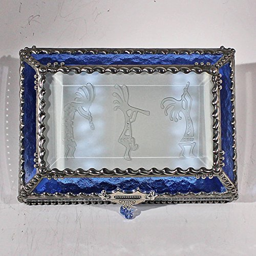 Kokopelli, Native American Stained Glass Jewelry Box, Presentation Box, Keepsake Box, Glass Jewels, Swarovski Crystals, USA Made by Glass Treasure Box