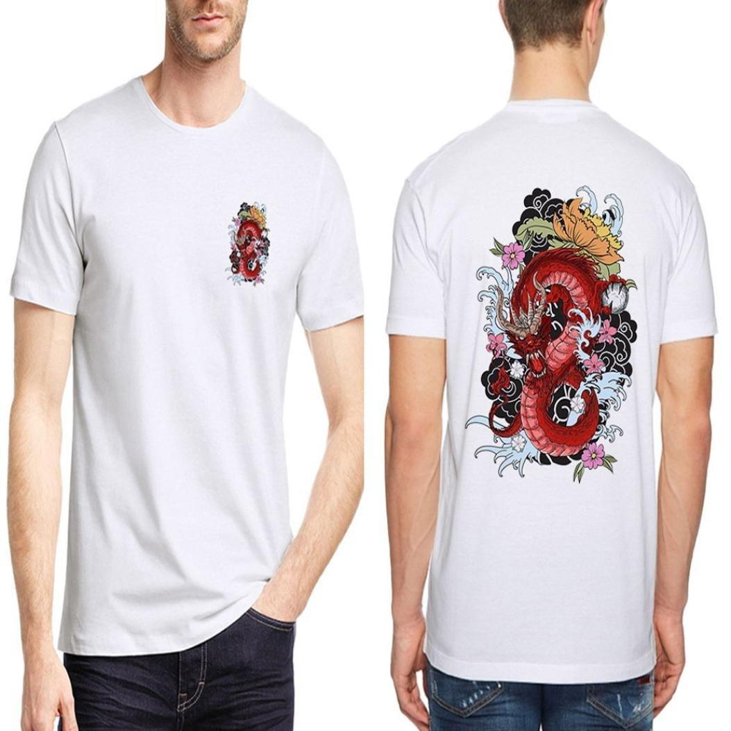 Resplend Camiseta de Manga Corta con Cuello en V de Manga Corta con Estampado geométrico Blanco Casual de Dragon de los Hombres: Amazon.es: Ropa y ...