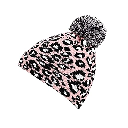 5a950b0f9927 Amazon.com: Atezch Fashion Women Mens Winter Leopard Printing Knit Crochet  Hat Couples Beanie Hairball Warm Cap: Sports & Outdoors