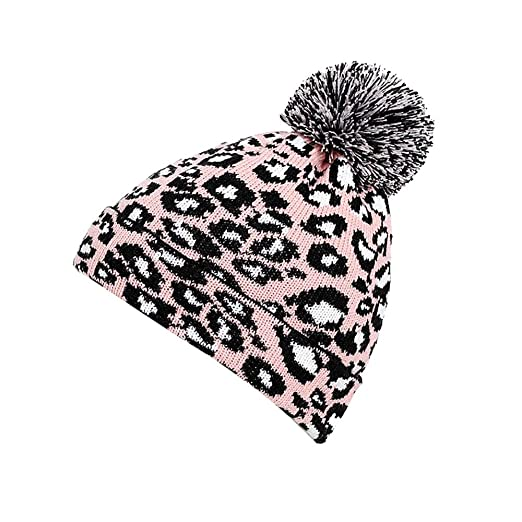 b970f2f8ef762e Amazon.com: Esharing Women Winter Pompom Beanie Hat with Warm Cotton Lined,  Thick Slouchy Snow Knit Leopard Ski Knit Cap (Pink): Clothing