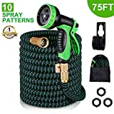 Kurtvana Garden Hose Expandable Water Hose 75 Feet,Extra Strength/No-Kink Lightweight/Durable/Flexible/10 Function Spray Hose