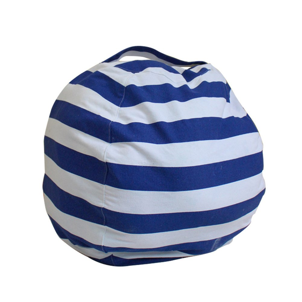 Large Toy Storage Bag, Extra-Large Canvas Stuffed Animal Storage Bean Bag Cover Bag Chair Kids Plush Toy Organizer, Clean up The Room Perfect Storage Solution(Royal Blue) by GEZICHTA (Image #2)