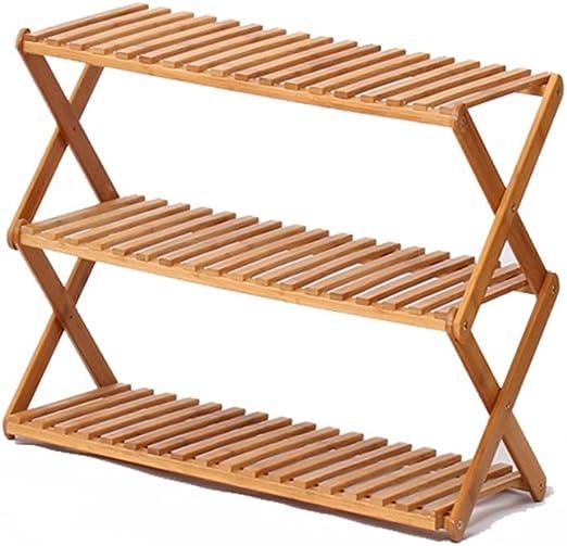 WEN HUI - Zapatero de bambú con 3 estantes, Soporte para Armario ...