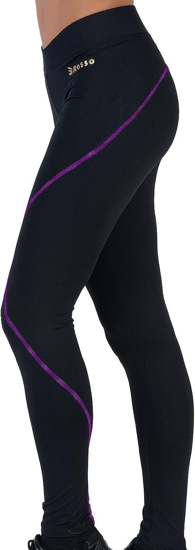 ROSSO Mallas largas para Mujeres Leggins básicos Cintura Ancha Pantalones opacos elásticos Deportivos Licra Negros Repunte Lila Gym Yoga Pilates ...