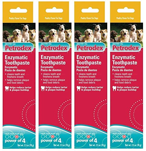 4 Pack (2 Count) Sergeant's Petrodex Enzymatic Toothpaste for Dogs Poultry Flavor, 2.5-Ounce,