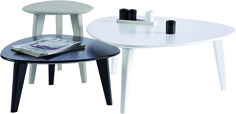 Col: Bianco Nero Mat: MDF. Danke D2 Set 3 tavolini 13Casa Grigio Dim: 80x80x35 h cm
