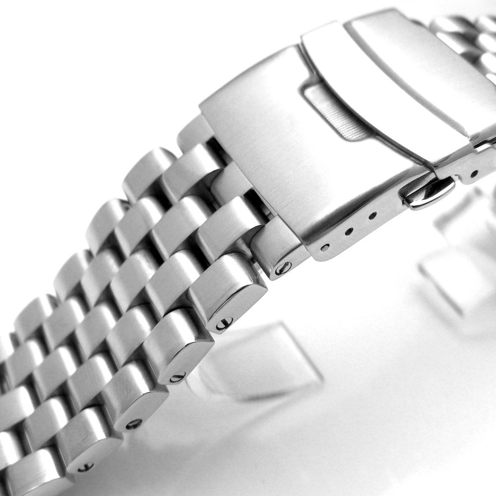 20mm Brushed Engineer Solid Link 316l Stainless Steel Watch Bracelet Band by 20mm Metal Band by MiLTAT (Image #3)