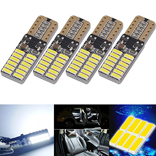 - NAKOBO Super Bright T10 W5W 194 LED Bulb White 24-SMD 4014 Chipsets Canbus Error Free Backup Dome License Plate Side Marker Lights Pack of 4