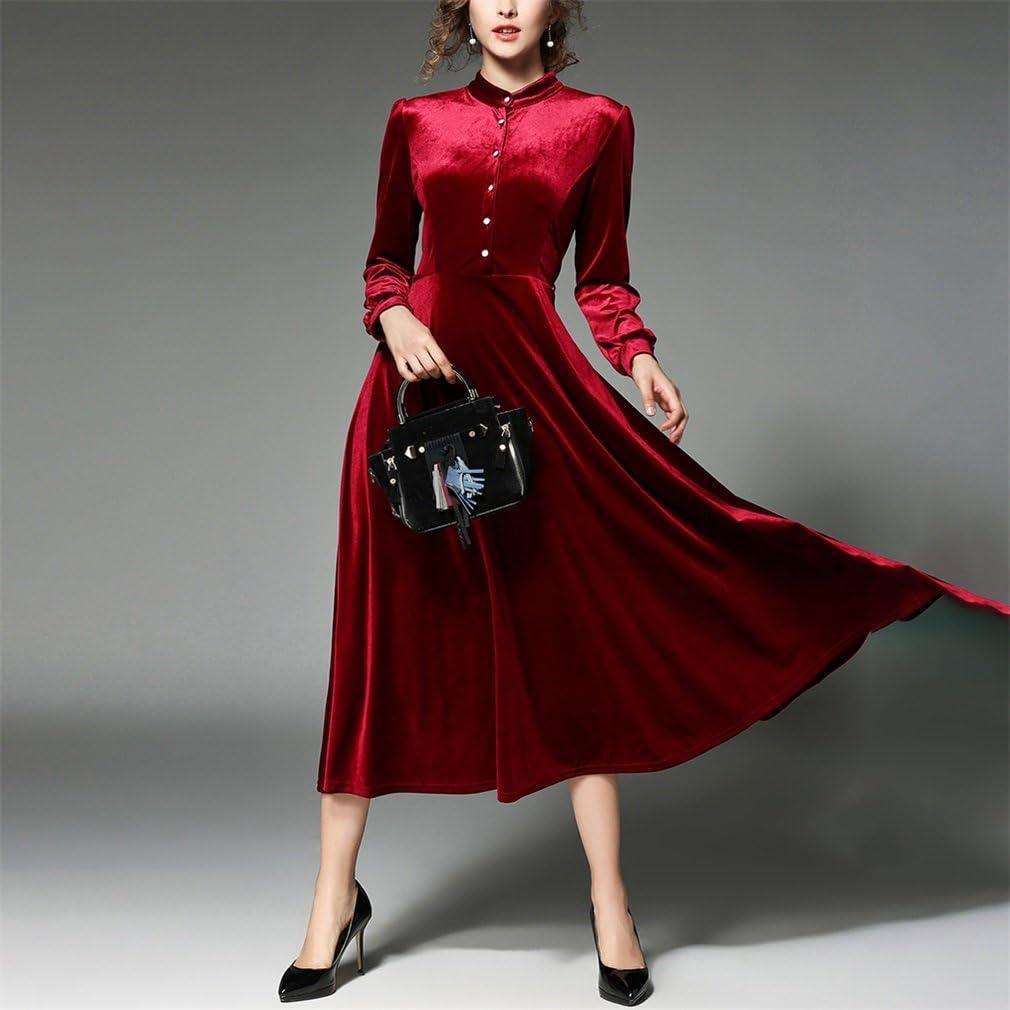 Simple Retro Womens Velvet Dress Maxi Dress Belted V-Neck Long Sleeve Wrap Dress
