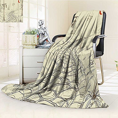 Duplex printed blanket ,Suitable for Fall Winter Summer Spring With Stone Road And Lanterns Night Lights In Illuminated Areas Artsy Sketch Beige Red Warm Elegant Cozy Fuzzy Fluffy Faux/W47