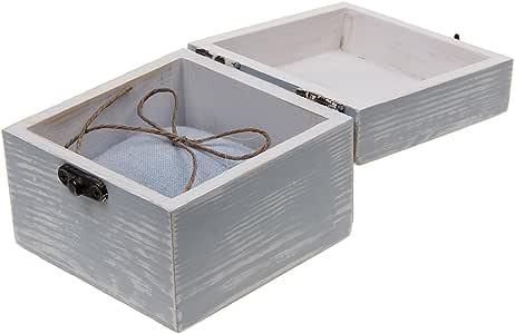 F Fityle Caja De Cofre del Tesoro De Joyería De Cerradura De Metal Pequeña Vintage Organizador De Caja De Madera Manual - Gris, 10 x 10 x 8 cm: Amazon.es: Hogar