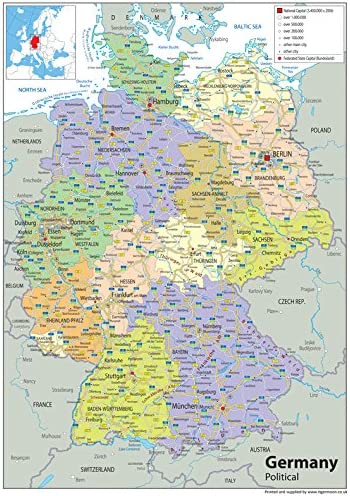 Regioni Germania Cartina.Germania Mappa Politica Carta Plastificata A1 Misura 59 4 X 84 1 Cm Amazon It Cancelleria E Prodotti Per Ufficio
