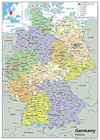 Germany Political Map Paper Laminated A1 Size 59 4 X 84 1 Cm