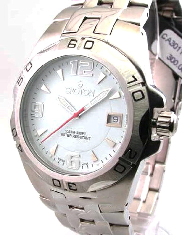Amazon.com: Mens Croton Steel Swiss 10 Atm Date Watch CA301149SSDW: Watches