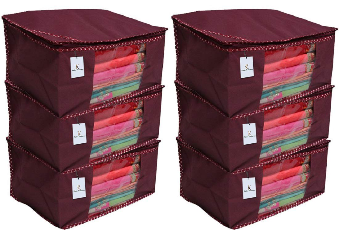 Kuber Industries 6 Piece Non Woven Saree Cover Set, Maroon