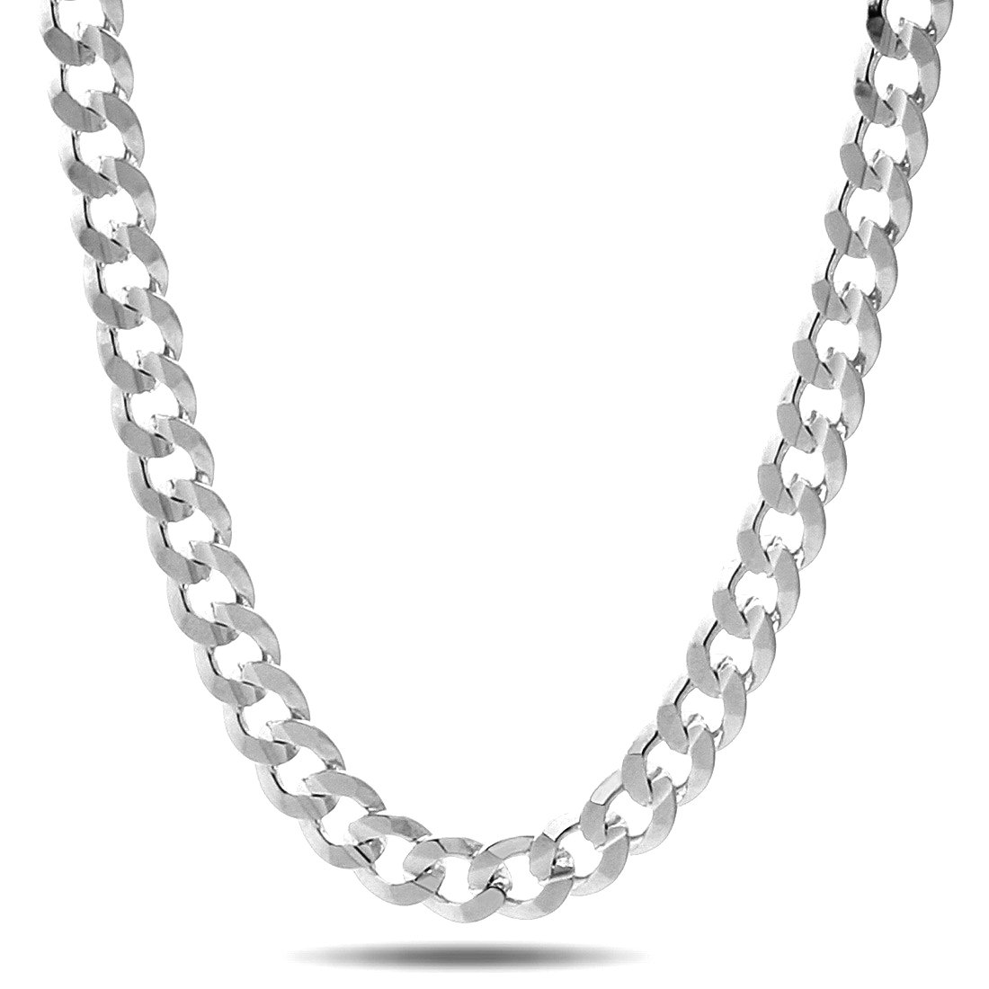 NYC Sterling Men's 10.3MM Solid Sterling Silver .925 Curb Link Chain Necklace, Made in Italy. (30 Inch)