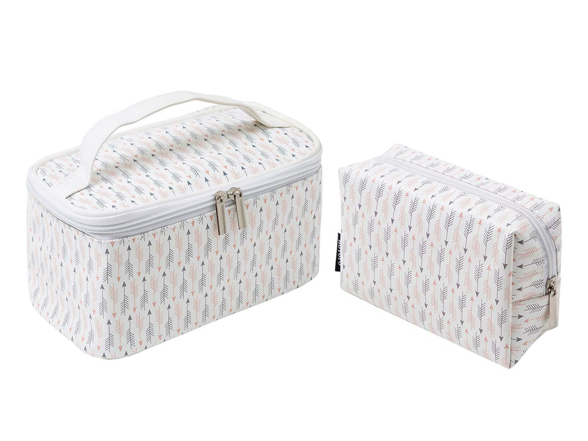 HOYOFO Womens Cosmetic Bags Arrow Makeup Storage Case Handle Toiletry Bag, 2 Pcs/Set A
