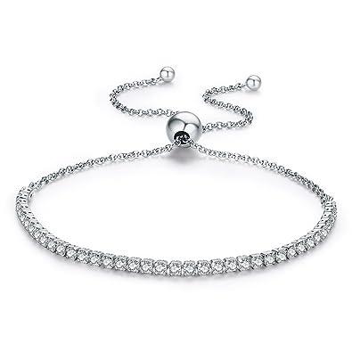 Sparkling Strand Adjustable Bracelet, Clear CZ 925 Sterling Silver Fits Pandora European Style Bracelets