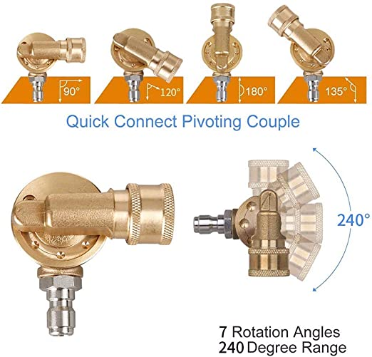 High Pressure Washer Spray Nozzle Tips Quick Disconnect Connect 1//4/'/' Coupler