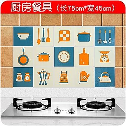 Bomeautify Cocina estufa aceite de baldosas adhesivo alta temperatura dibujos animados a prueba de agua autoadhesivo