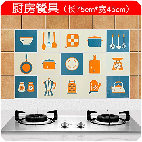 Bomeautify Kitchen stove tile oil sticker high temperature cartoon waterproof self-adhesive stick home cabinet fume wall sticker kitchen tableware