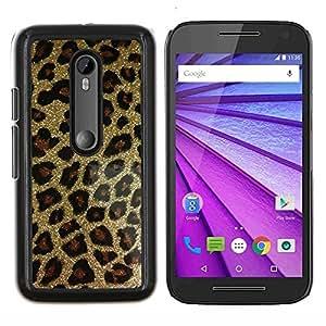 El oro del brillo de Bling del leopardo del patrón de piel- Metal de aluminio y de plástico duro Caja del teléfono - Negro - Motorola Moto G (3rd gen) / G3
