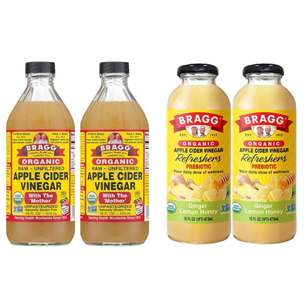 Bragg Organic Apple Cider Vinegar With the Mother 16 Ounce 2 Pack and Bragg Organic Ginger Lemon Honey Vinegar Drink 16 Ounce Bundle