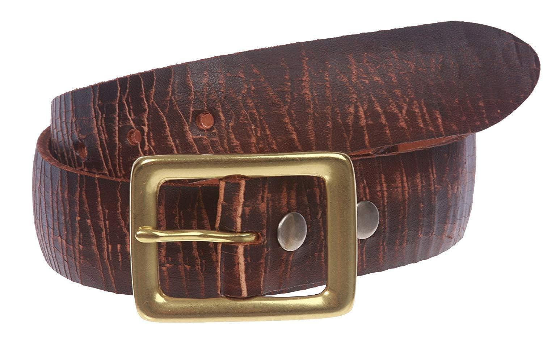 MONIQUE Men Crack Finish Oil Tanned Full Grain Leather Rectangular 1.5 Belt