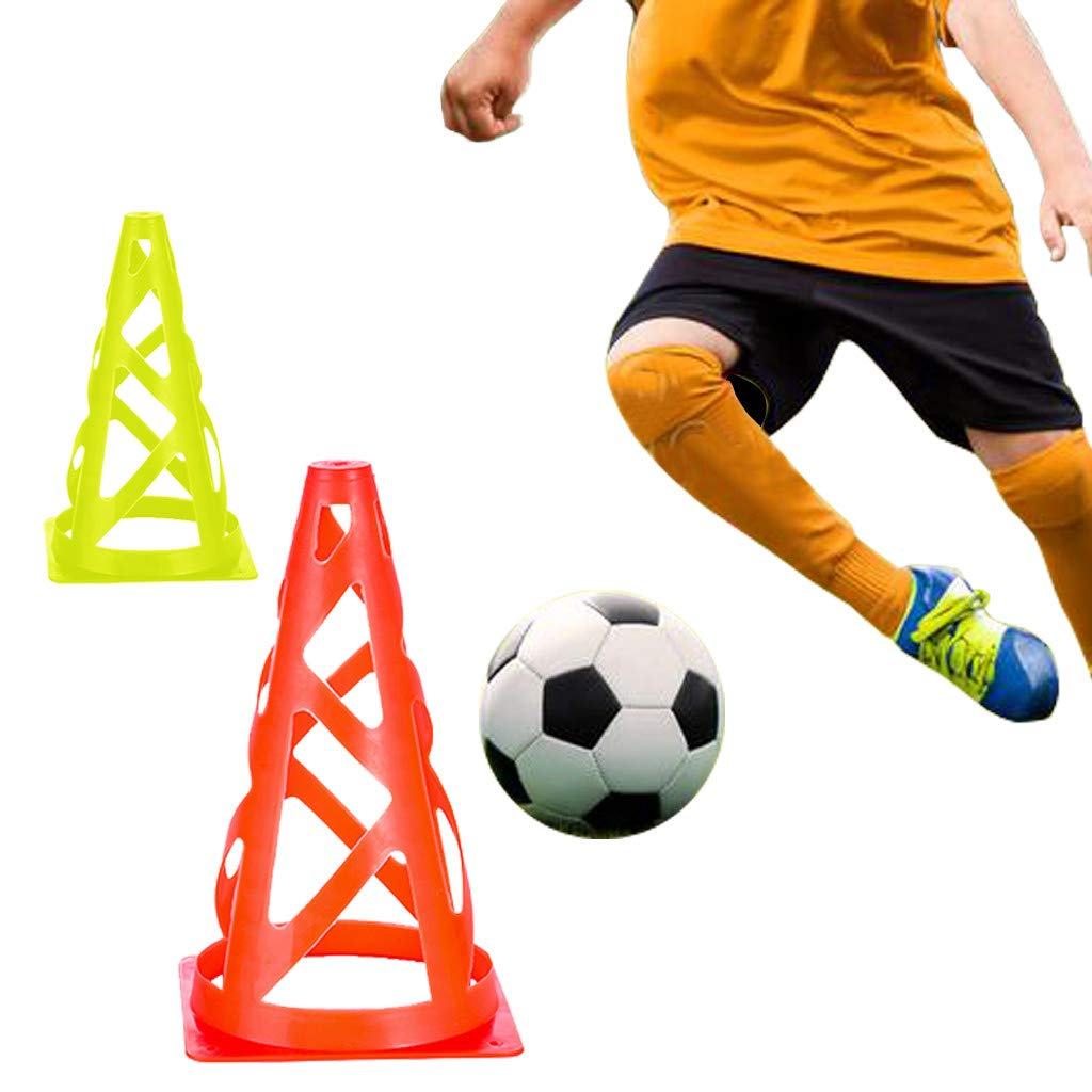 9 inch Traffic Cones, Mosunx 20 Pack 2 Colors Soccer Training Cones, Sport Training Supplies for Indoor Outdoor Activity, Come with Carry Bag. (Fluorescent Green, Orange, 20Pack, 5.1x5.1x9.1Inch) by Mosunx Toys