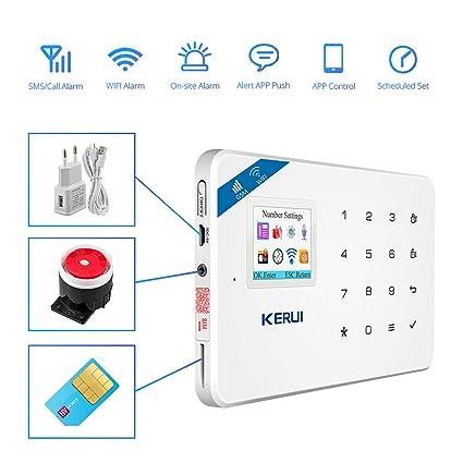 KERUI W18 Sistema de Alarma Inalámbrico 2.4G WIFI/GSM para el Hogar, Kits de Sistema de Alarma Antirrobo DIY con Control de Marcado Automático por SMS ...