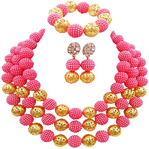 (laanc Womens Fashion Gold Plated 3 Rows Nigerian Beads African Wedding Bridal Jewelry Sets (Coral Pink))