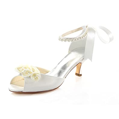 Emily Bridal Womens Silk Like Satin Stiletto Heel Peep Toe Sandals with Bowknot Crystal