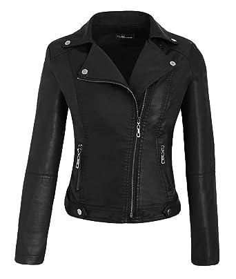 7f902ea64e9 Calvin Sally Moto Jacket Women - Faux Leather Jacket Moto Biker Short Coat  for Petite Women Black