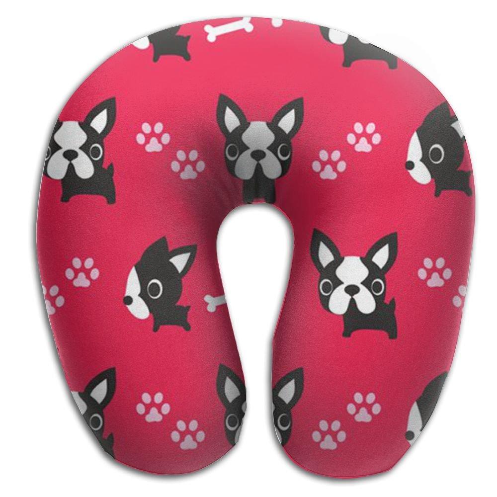 Boston Terrier Comfortable Brace Neck Pillow Spa Memory Foam U-SHAPE For Flying Man