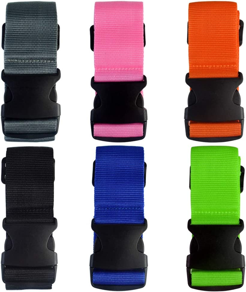 1.96 in W x 6.56 ft L, 6 Colors obmwang 6 PCS Adjustable Luggage Straps Suitcase Belts Nonslip Travel Accessories Bag Straps with Luggage Tags