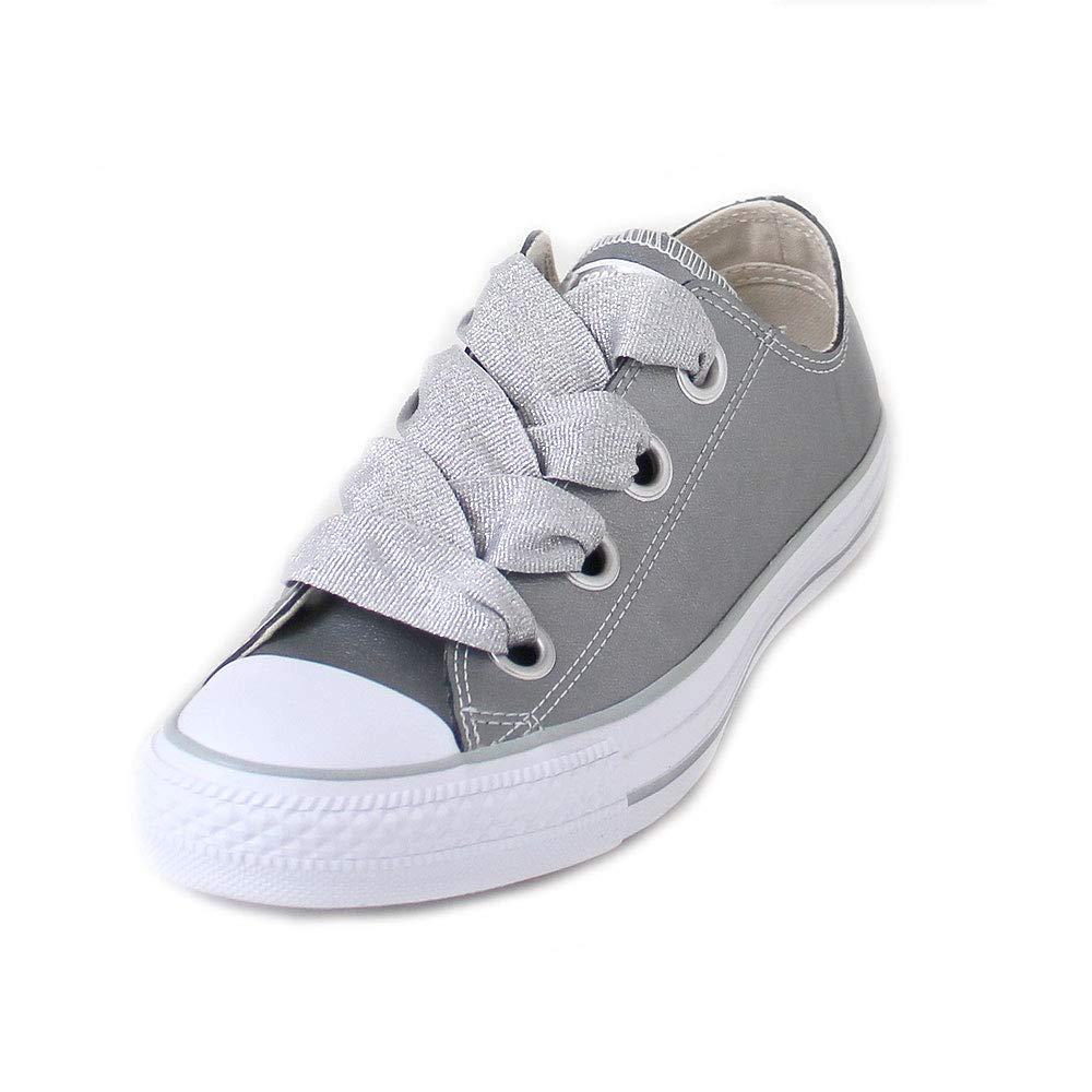 Converse Womens Chuck Taylor All Star Big Eyelets-Ox Low-Top Metallic Silver Sneaker - 8.5