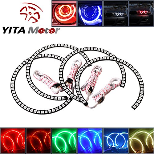 LED RGB Multi-Color Angel Eye Halo Rings for BMW E39 E46 Headlight US (Bmw Headlight Rings)