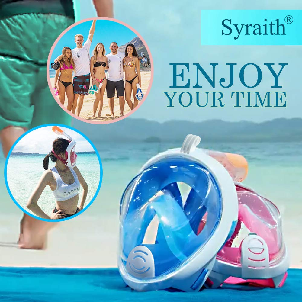 Full Face Snorkeling Mask Diving mask Youth Adult Size Mask Best Snorkeling Set 180/° Panoramic View Anti-Fog Anti-Leak GoPro Compatible Detachable Free Breathing Send Mobile Phone Waterproof Bag