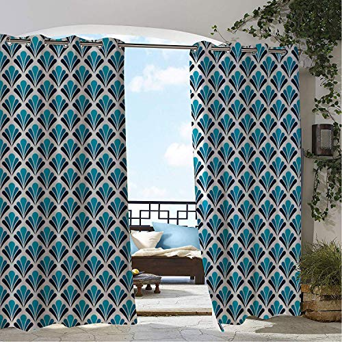 Linhomedecor Gazebo Waterproof Curtains Art Deco French Tradition Floral Inspired Damask Classic Flower Illustration Dark Petrol Blue Sea Blue doorways Grommet Patterned Curtain 120 by 72 inch