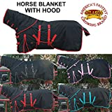 "72"" HILASON 1200D POLY TURNOUT WINTER HORSE NECK COVER BELLY WRAP BLANKET BLACK"